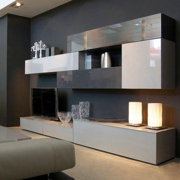 Mueble de dise o minimalista que combina grises sal n for Mueble salon minimalista