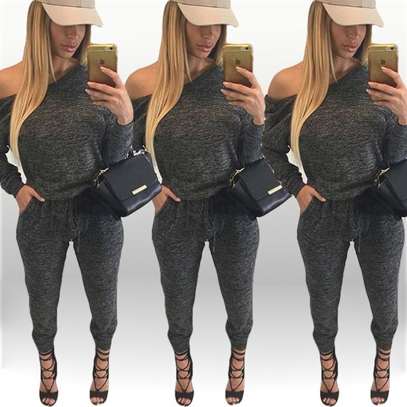 women causal off shouler long pants elegant jumpsuit full bodysuit