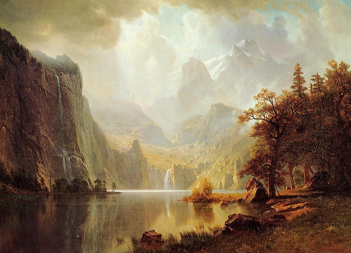THE WOLF RIVER KANSAS INDIANS HORSE RIVER PAINTING BY ALBERT BIERSTADT REPRO
