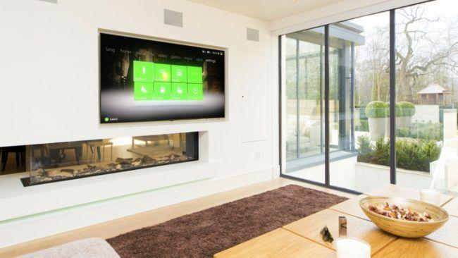 Fernseher An Wand Trennwand Design Kamin Interieur Wohnzimmer