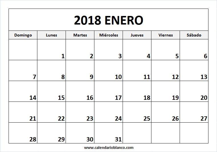Para Imprimir Calendario Enero 2018