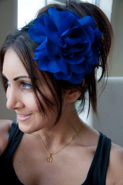 Royal Blue Flower Headband Poofy Royal Blue Flower by EyeHeartMe ... 62f894d076b