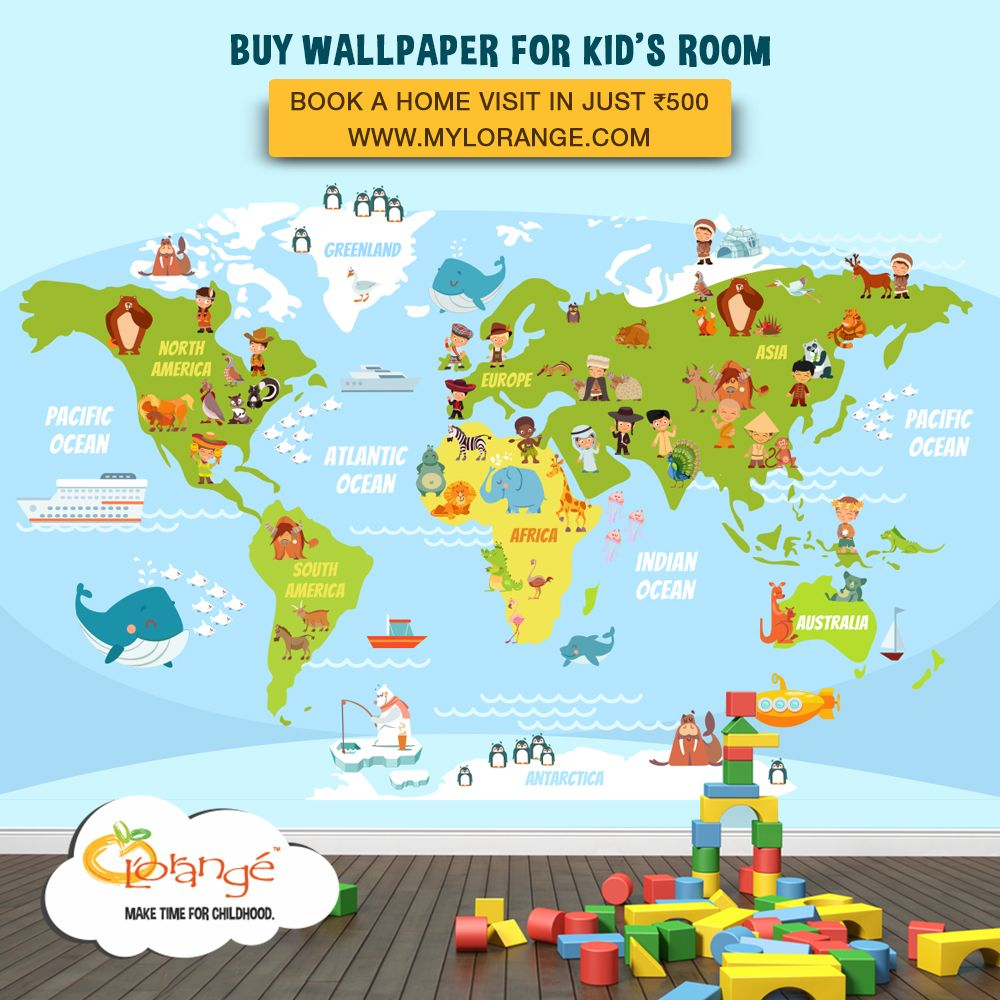 Let your kid learn, play and explore, buy World Map wallpapers from ...