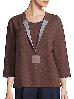 Lafayette 148 New York Cozy Wool Flannel Two-Tone Cardigan - Porcini-S