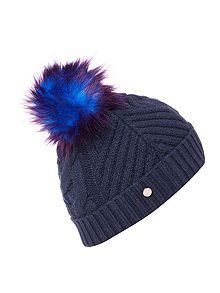23ca3bc0 Lisabet faux fur pom pom knitted hat | Fashion...Hats & Headpieces ...