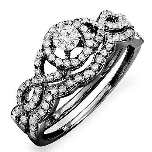 0.60 Carat (ctw) Black Rhodium Plated 14k White Gold Round Diamond Halo Bridal Engagement Ring Set