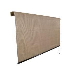 Coolaroo Walnut Cordless Light Filtering Fade Resistant Fabric Horizontal Roller Shade 96 In W X 96 In L 460075 The Home Depot Exterior Roller Shade Roller Shades Living Room Roller Shades