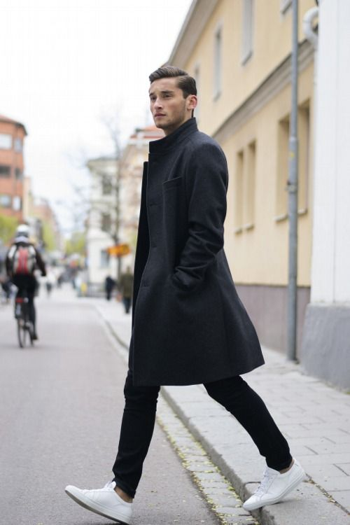 Black Overcoat, Black Jeans, and White Sneakers. Men\u0027s Early Fall Winter  Street Style Fashion.