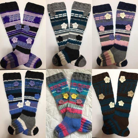 Crochet Knee High Socks Free Pattern   crochet projects   Pinterest
