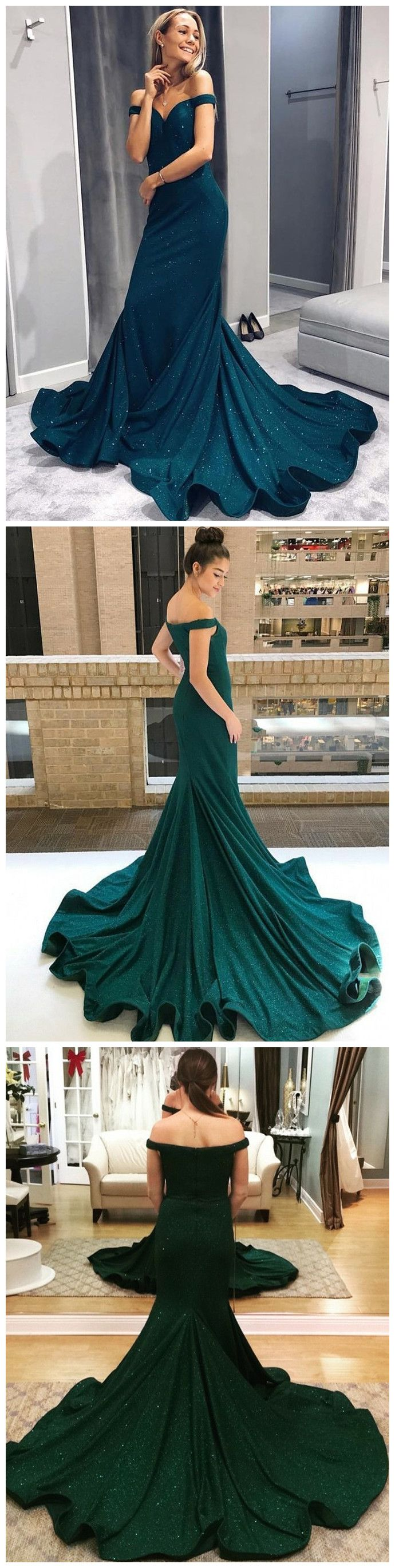 Trumpetmermaid offtheshoulder long prom dresses dark green long