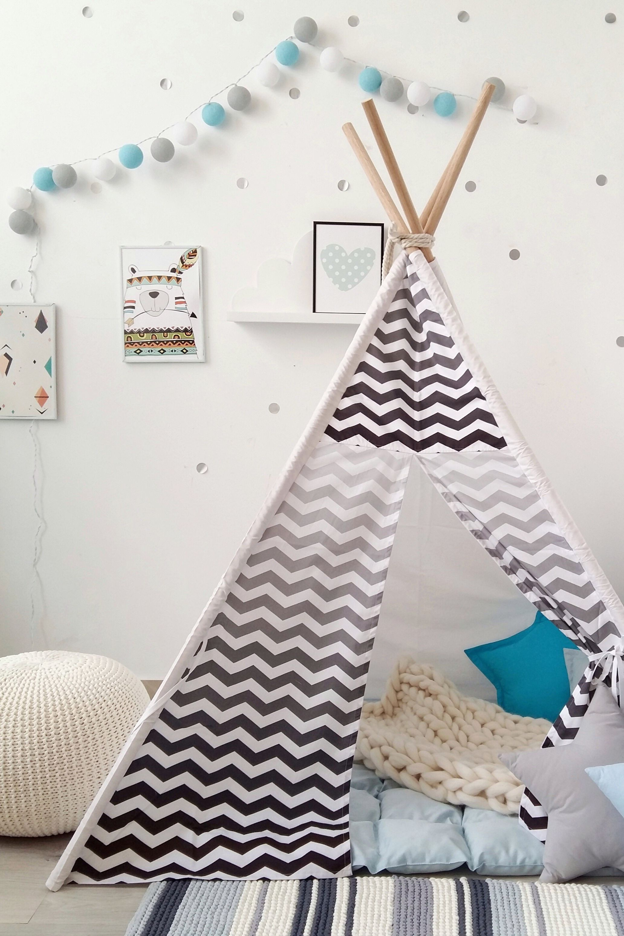 best website 41f27 cdca7 Kids black and white tepee with chevron to buy on Etsy ...