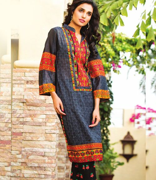 Orient Embroidered Lawn Kurti Collection 2015 OTL_103A