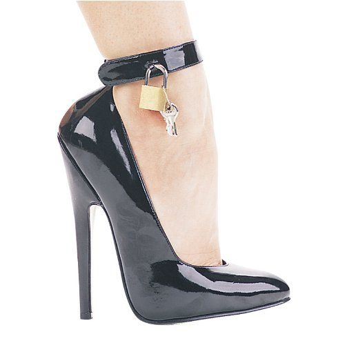6 Inch Womenu0027s Sexy High Heel Shoe Evening Shoe Bedroom Heel Fetish Pump  With Lock And