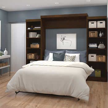 Boutique Queen Wall Bed With Two 25 Open Storage Units In Brown