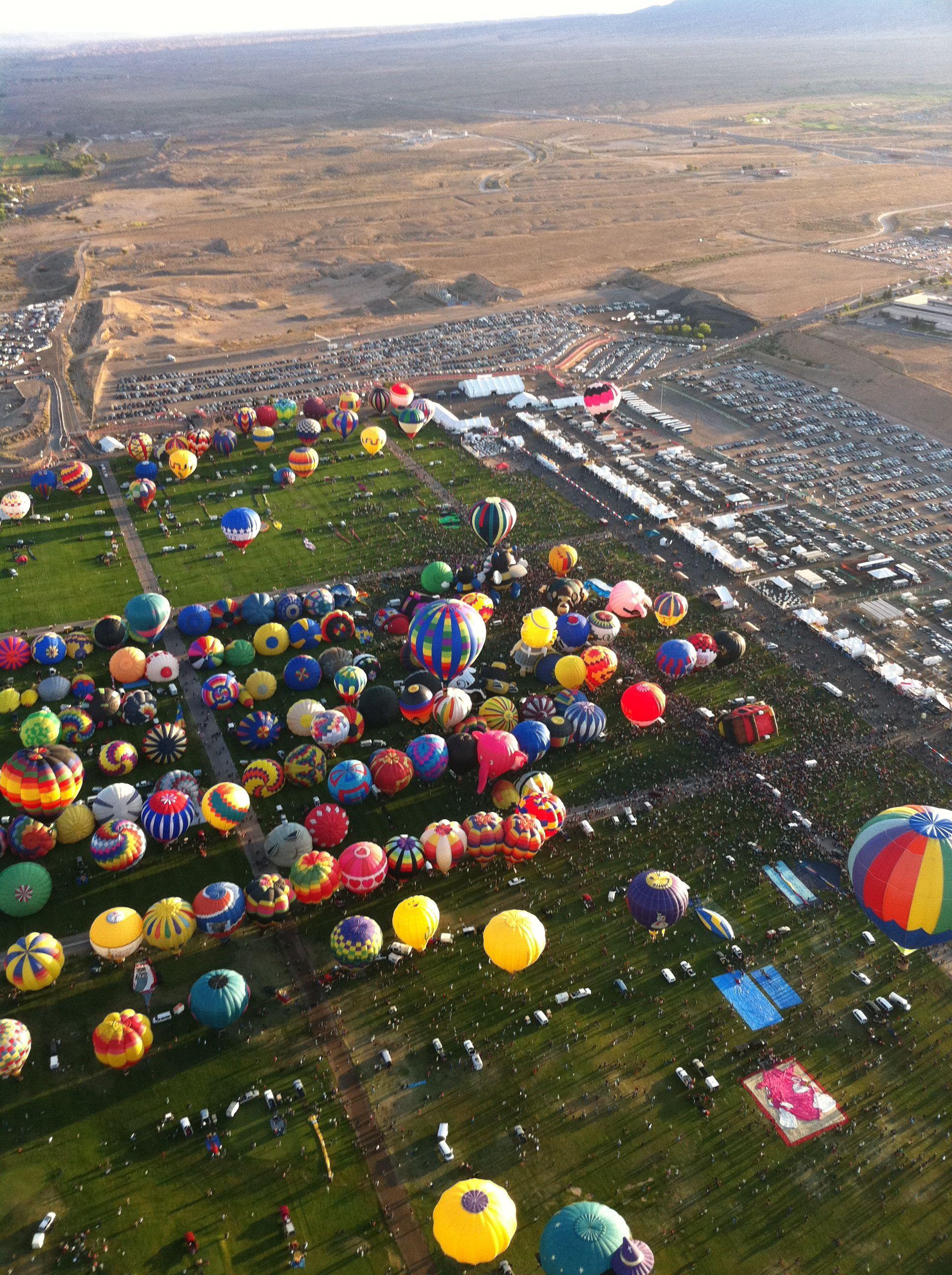 Airborne in mass ascension ABQ 2011 Hot air balloon