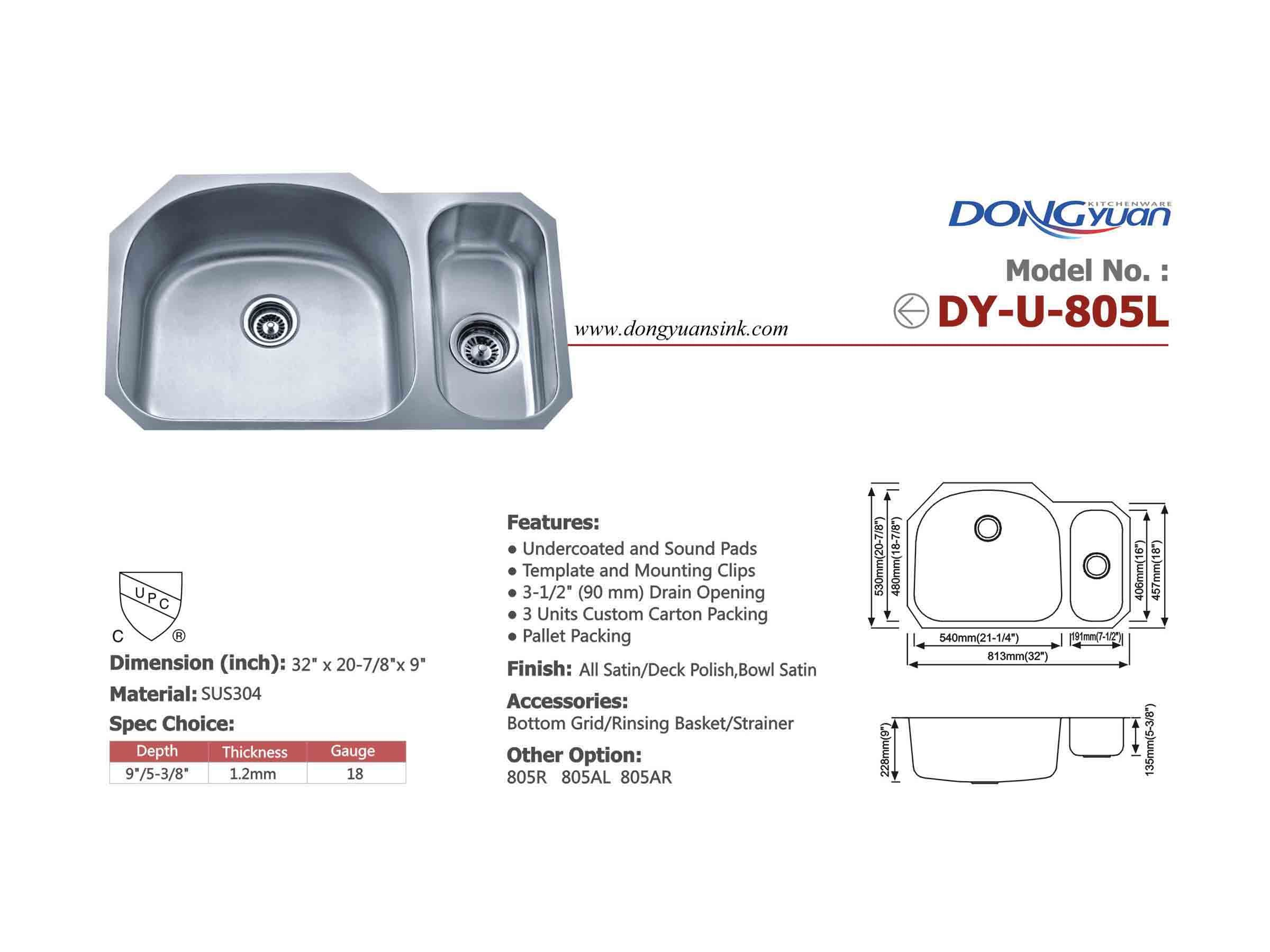 Stainless steel sink 805L
