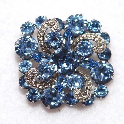 Rare EISENBERG Vintage 1940's - 1950's Brooch Light Blue - http://www.vintagemeans.com/buy-and-sell-guide/rare-eisenberg-vintage-1940s-1950s-brooch-light-blue/…