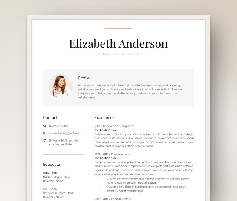 Resume Template For Word Elegant Resume With Photo Manager Etsy In 2020 Resume Template Word Resume Template Microsoft Word Resume Template