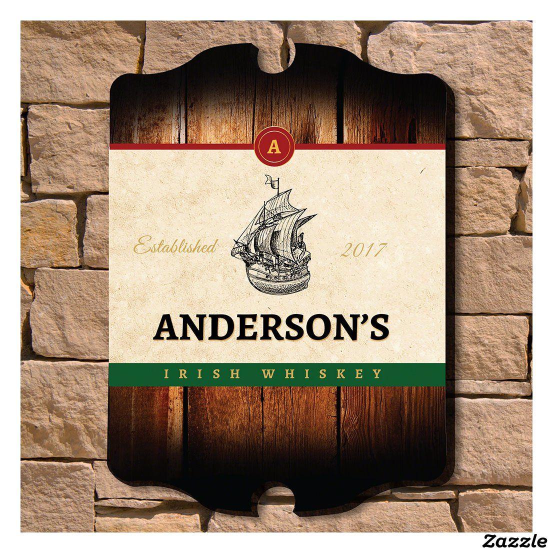 Irish Whiskey Clipper Ship Engraved Bar Sign