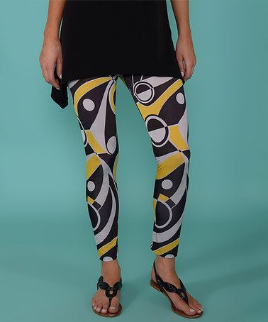 Look what I found on #zulily! Yellow & Black Geometric Leggings #zulilyfinds