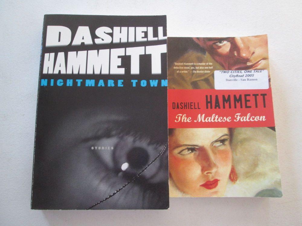 Dashiell Hammett Lot Of 2 Paperbacks The Maltese Falcon Nightmare Town Stories Dashiell Hammett Paperbacks Maltese