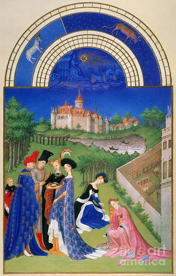 BOOK OF HOURS: APRIL. A betrothed couple exchanging rings in April: illumination from the 15th century manuscript of the Tres Riches Heures of Jean, Duke of Berry.  Artist: Granger, Medium: Photograph - Digital Image
