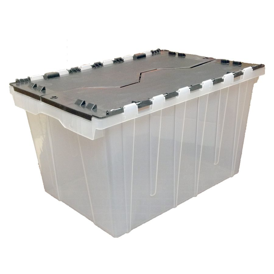 Shop Style Selections 12 Gallon Clear Tote With Hinged Lid At Lowes Com Plastic Storage Totes Plastic Storage Hinged Lid