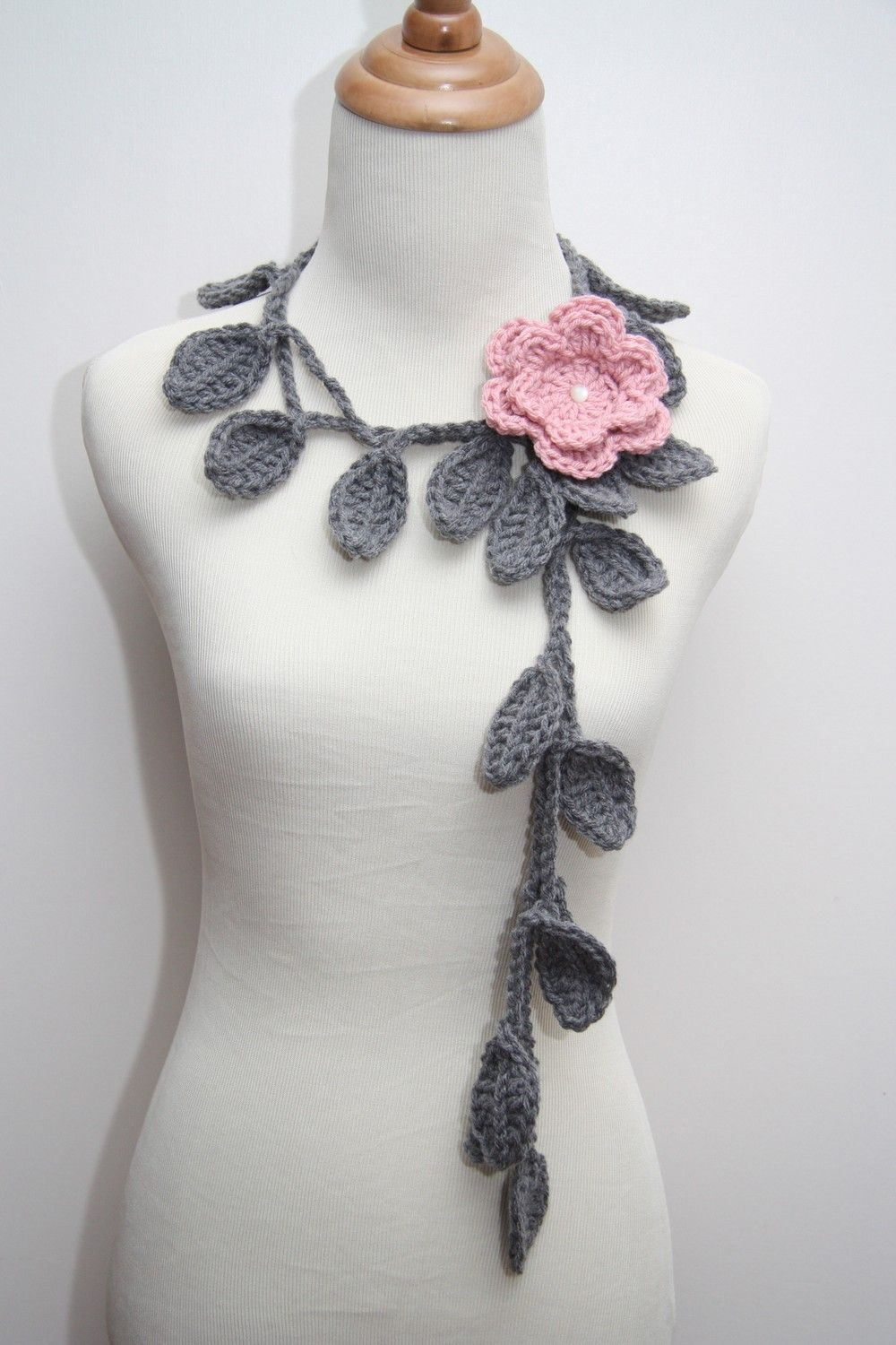 Crocheted Grey Leaf Necklace with Rose Pink Flower Brooch. $14.99, via Etsy.