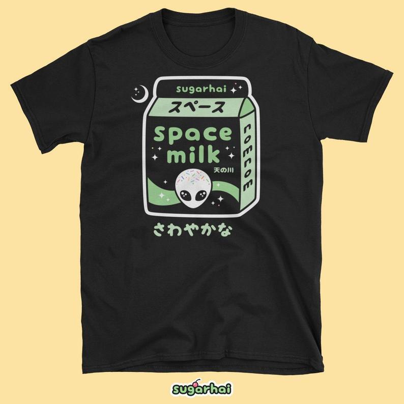 Alien Shirt | Unisex Space Milk | Pastel Goth Clothing | Aesthetic | Tumblr Clothes