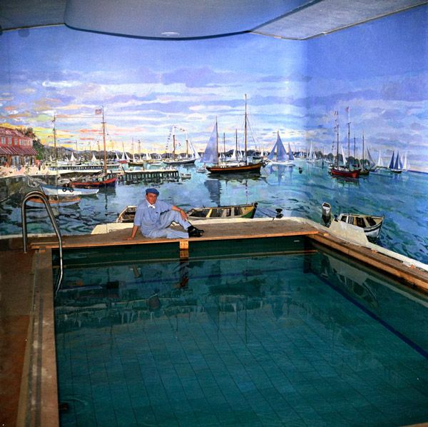 Fdr pool white house artist bernard lamotte painted the mural in 1962 commissioned nu joe for White house swimming pool indoor