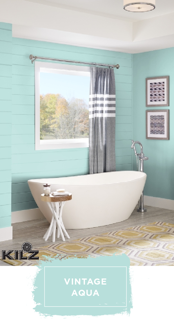 We Re Throwing It Back To The Classics With The Bright Blue Hue Of Vintage Aqua By Kilz Complete Coat Bathroom Colors Bathroom Colors Blue Small Bathroom Paint