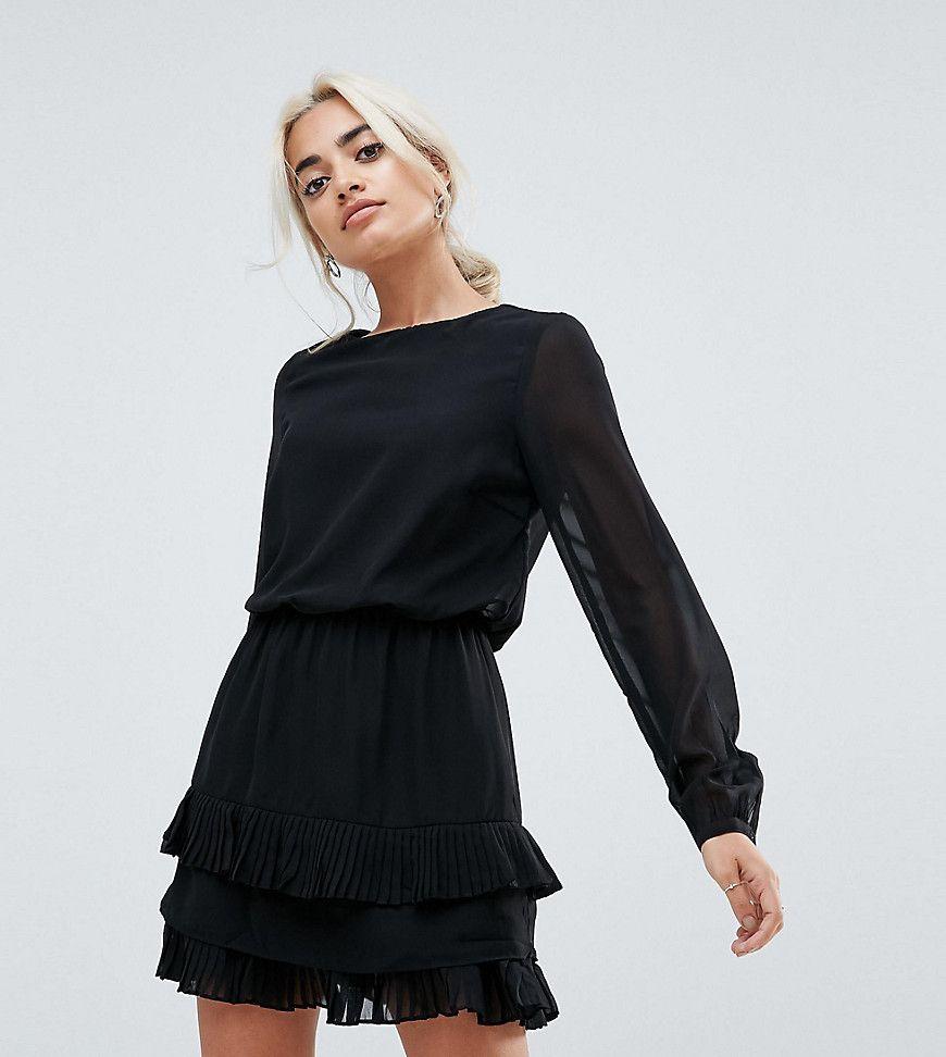 vero moda - petite - minikleid mit plissiertem saum
