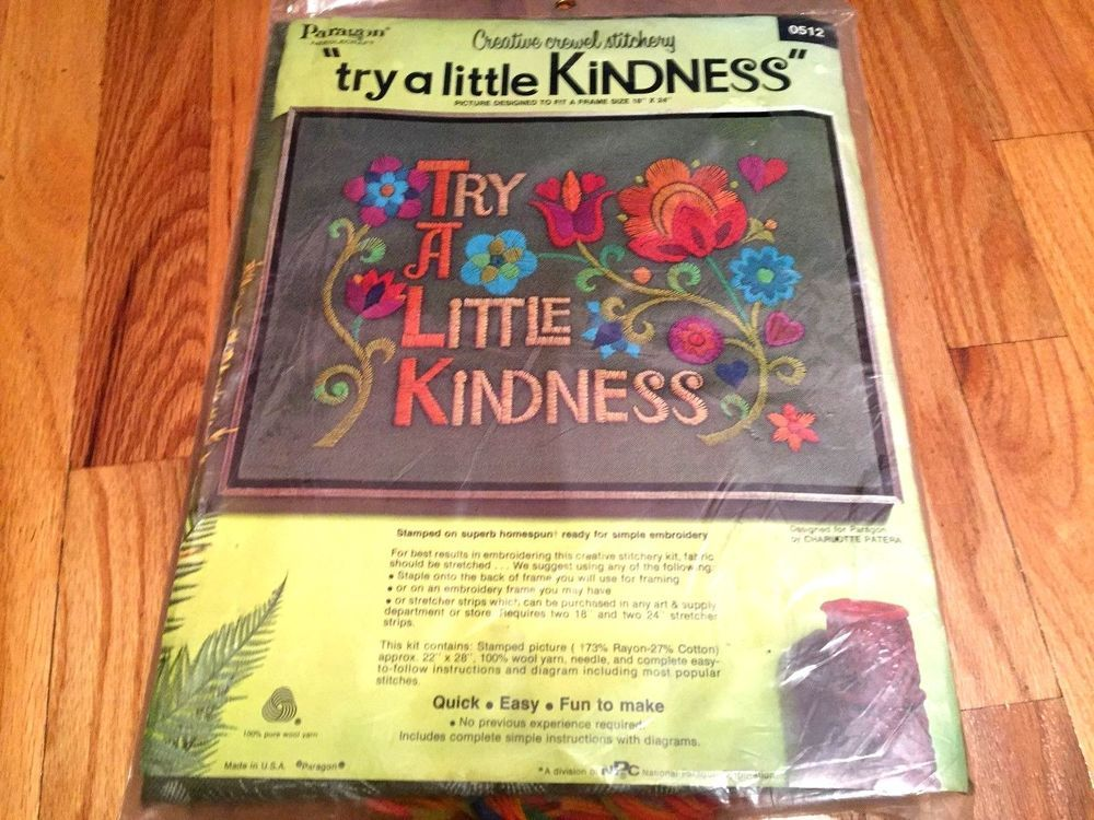 Paragon TRY A LITTLE KINDNESS Vtg Kit Crewel Embroidery Retro Jacobean Floral  #Paragon