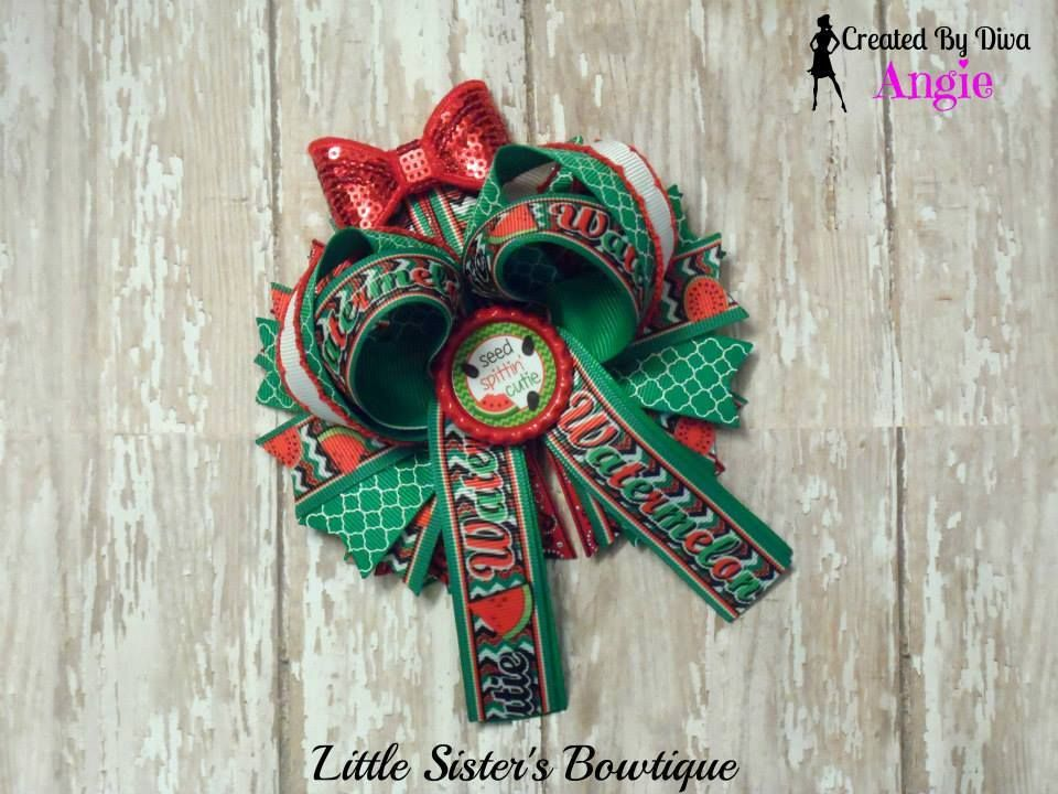 Sweet summer watermelon over the top boutique Hair bow https://www.facebook.com/media/set/?set=a.897934796912431.1073741887.664051576967422&type=3