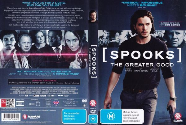 Spooks: The Greater Good  Latino Inglés  Spooks: The Greater Good DVDR | NTSC | VIDEO_TS | 4.36 GB | Audio: Español Latino 5.1 Inglés 5.1 | Subtítulos: Español Latino Inglés | Menú: Si | Extras: Si  Título original: Spooks: The Greater Good Año: 2015 Duración: 104 min. País: Reino Unido Director: Bharat Nalluri Guión: Jonathan Brackley Sam Vincent Música: Dominic Lewis Fotografía: Hubert Taczanowski Reparto: Kit Harington Peter Firth Jennifer Ehle Elyes Gabel Lara Pulver Tuppence Middleton…