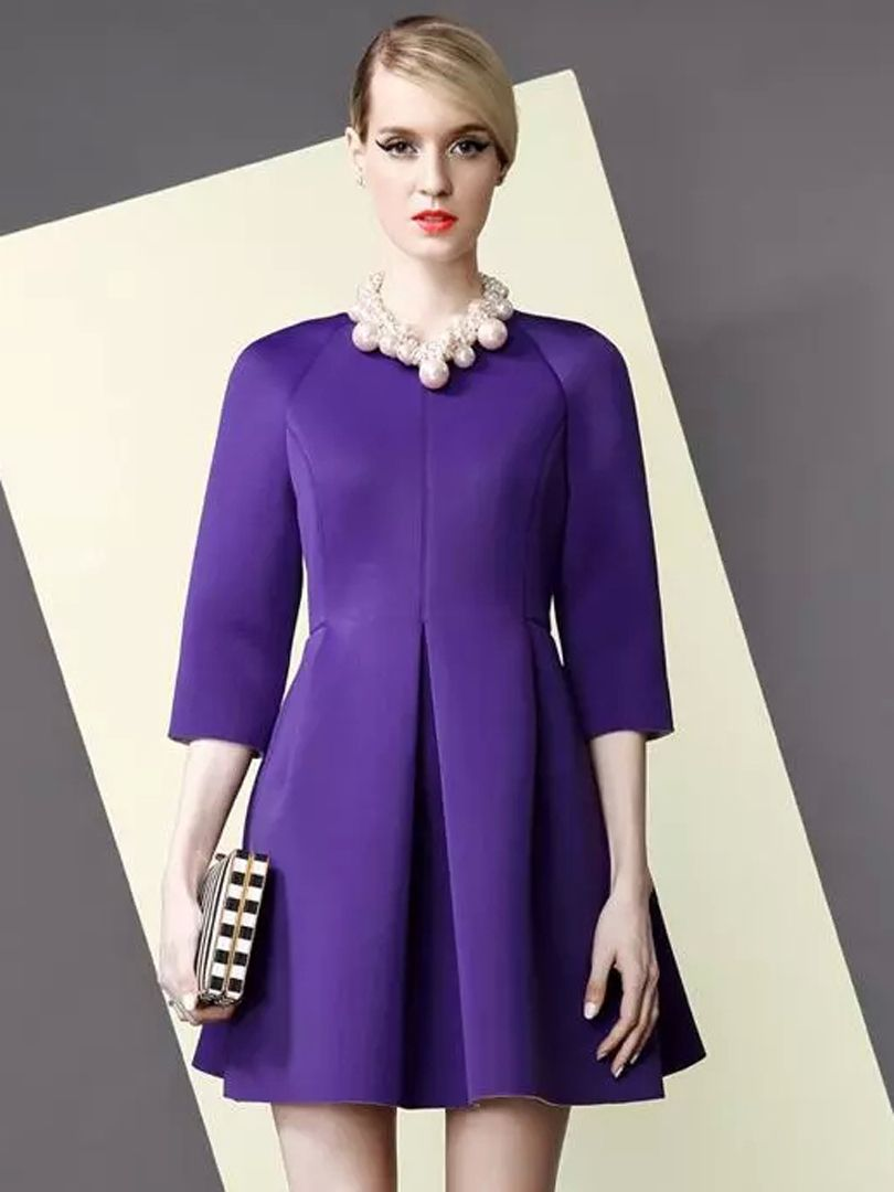 39217da81232 Purple 3 4 Sleeve Pleated Skater Dress