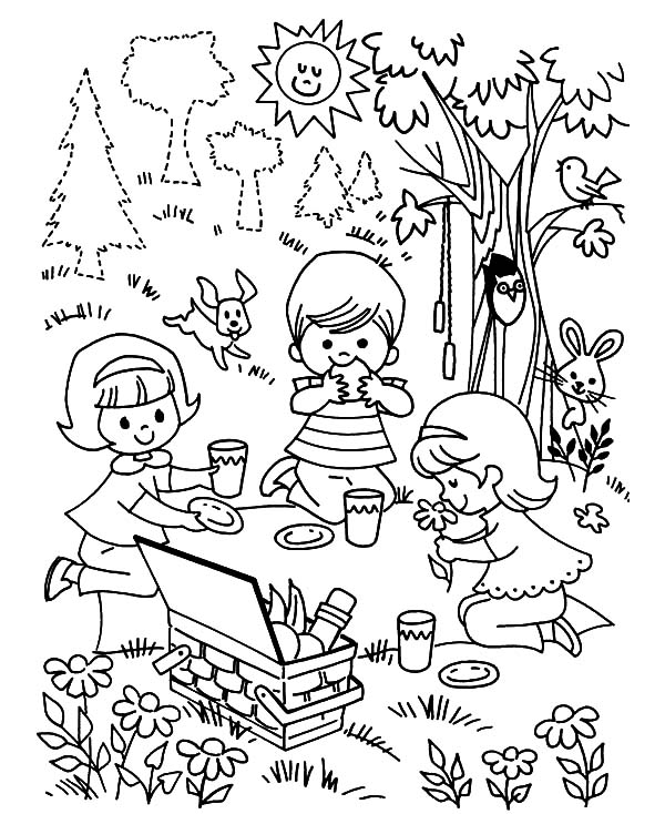Three Children Playing Family Picnic Coloring Pages Netart Coloring Pages Family Picnic Kids Playing