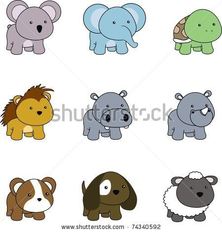cartoon baby animals | Animals Baby Cartoon Set In Vector ...