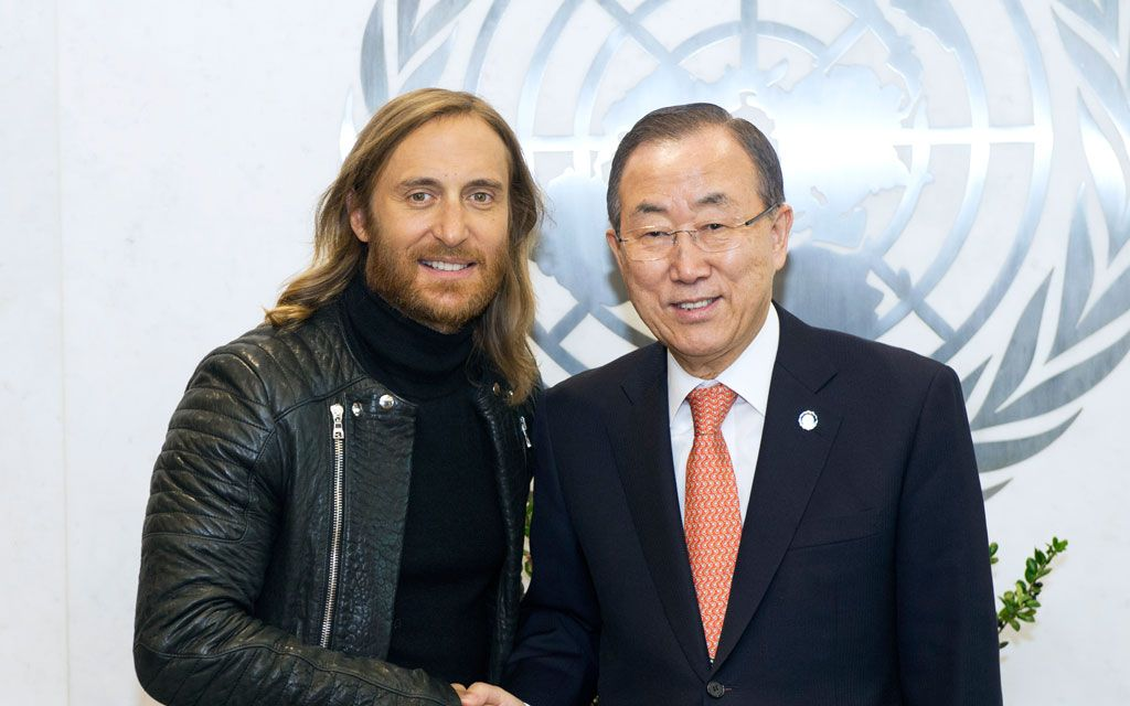 David Guetta donates #love, new single 'one voice' to UN relief efforts    Renowned music producer and deejay, David Guetta (left) with Secretary-General Ban Ki-moon. UN Photo/Eskinder Debebe