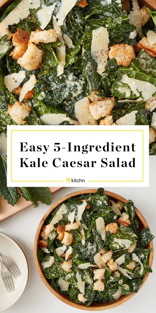 5-Ingredient Kale Caesar Salad #chickensidedishes