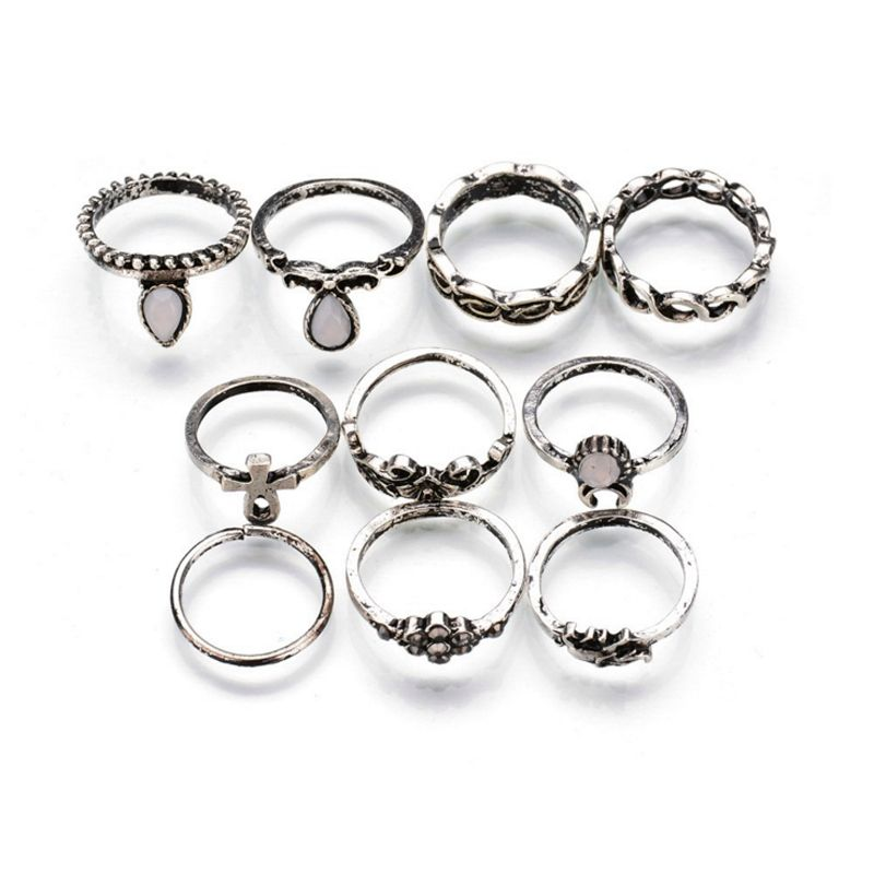 10 Design/Set Antique Gold Silver Rings Sets Moonstone Elephant ...