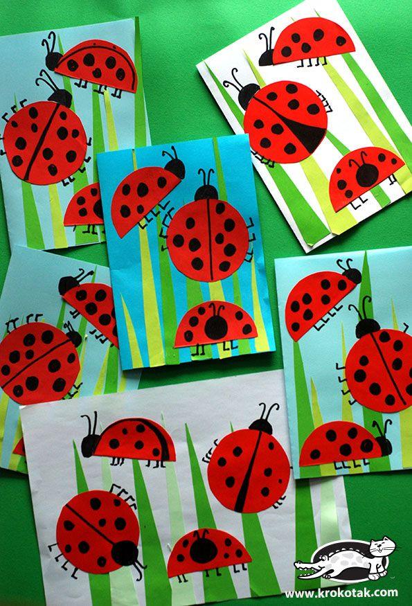 ladybug crafts for kids wiosna. Black Bedroom Furniture Sets. Home Design Ideas