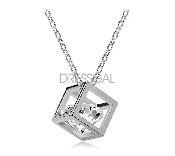 Romantic Crystal Cube Heart/Arrows Drop Pendant Necklace