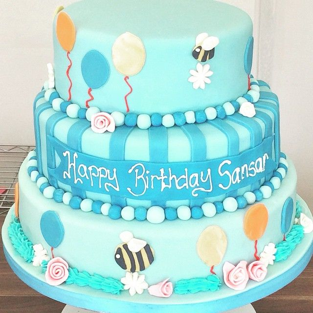 3 Tier Childrens Birthday Cake With Balloons And Fish