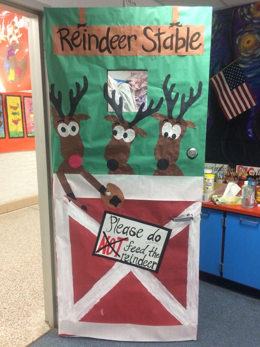 Holiday Classroom Door Decoration Reindeer Stable