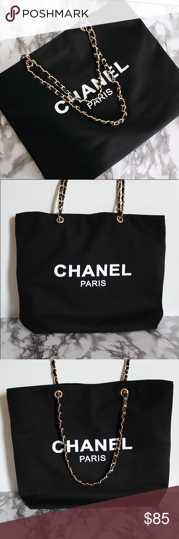 f1df2b1936c4 Auth Chanel Vip Gift Canvas Leather Chain Tote Bag Authentic Chanel Paris  beauty vip gift