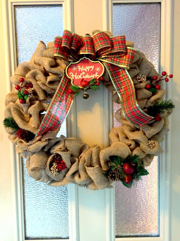 "Large handmade 18"" holiday burlap wreath by BrolidiasCrafts on Etsy"