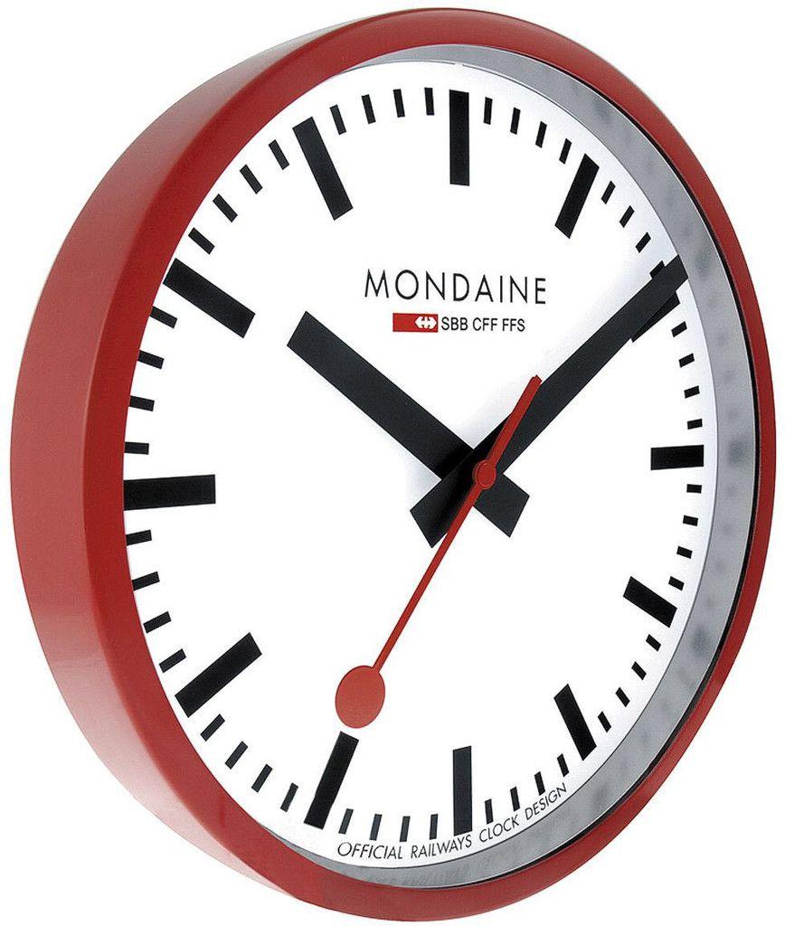 Mondaine Wall Clock Red Frame 25cm Brand Mondaine Case Material Aluminum Case Mondaine Wall Clock Clock Red Wall Clock