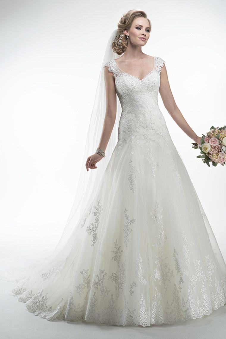 romantic v neck wedding dress drop waist a line with applique