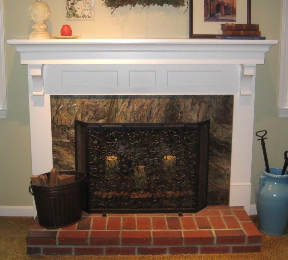 Fresh interior marble brick fireplace mantel designs for Interior fireplaces designs